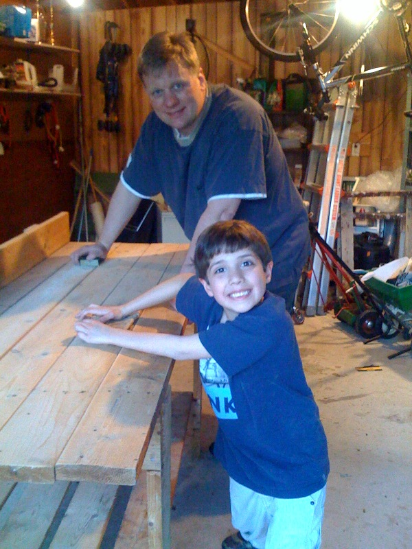 Dad & Eli working on shop bench